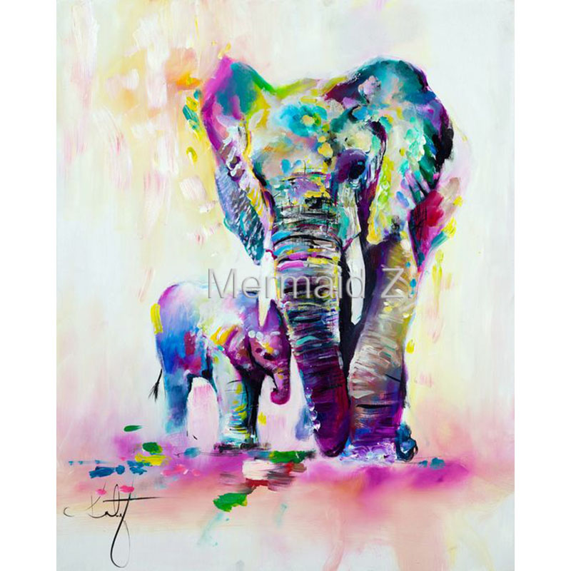 Hand Painted Modern Abstract Oil Painting Mother Baby Canvas animals elephant Decorative Painting Wall Art Palette