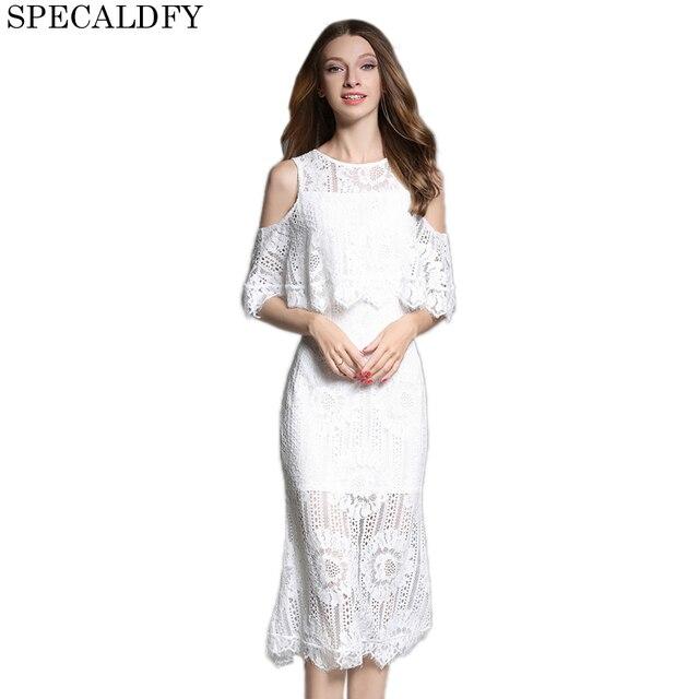 f8de8a938bcb 2018 New Fashion Designer White Lace Dress Women Ruffle Neck Elegant  Bodycon Dresses Sexy Evening Party Dresses Summer Vestidos