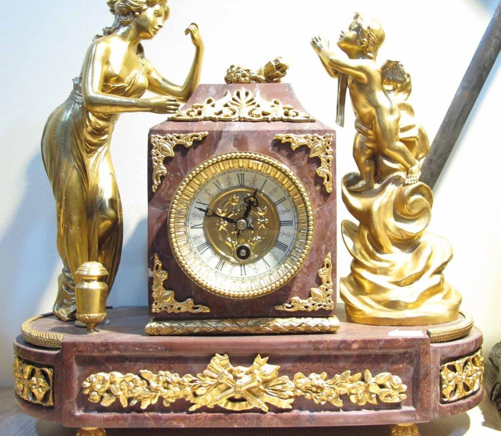 Sculpture Copper Brass Gilt Angel Marble Base Baroque Watches Mechanical Clock