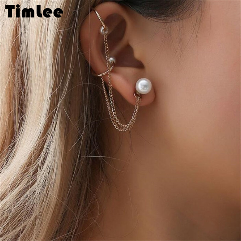 Timlee E082 Free shipping, New personality Imitation Pearl Tassels Chain Drop Earring One Piece,Fashion Jewelry Wholesale