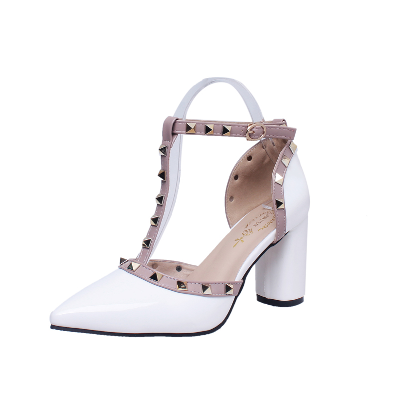 Negro Mujeres blanco rosado Negro otoño Las Zapatos blanco rosa Remache Alto Primavera De Tacón 2019 Nuevo Bombas Casuales Roma Estilo xTwAq0POU