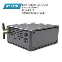 Hystou coffee Lake 8th Gen Мини ПК Intel Core i7 8750 H I7 6785R E 2176M 6 ядер 12 нитей Intel UHD graphics 630 Mini DP HDMI