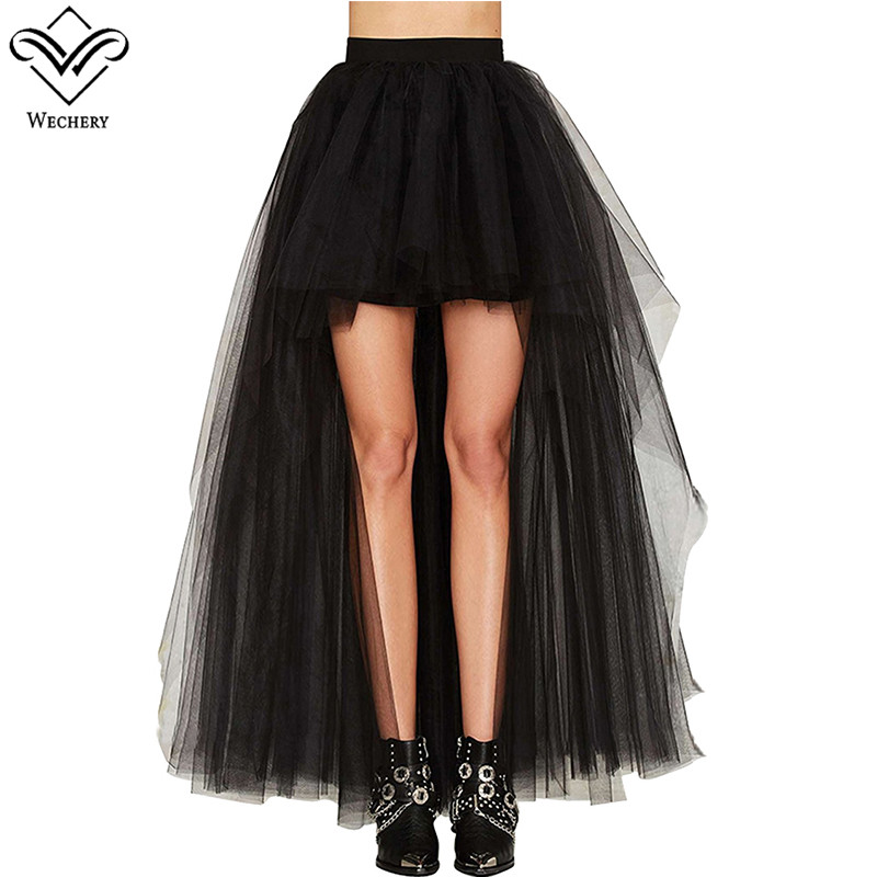 Wechery New Long Maxi Led Light Elastic Skirts Sexy Fluffy Tulle Skirt Ruffled Chiffon Lace Corset Mesh Skirt For Party Club