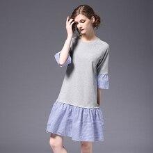Модные трикотажные Для женщин Хлопковое платье Ложные двух частей повседневные платья свободного кроя Милая женская одежда SSD100