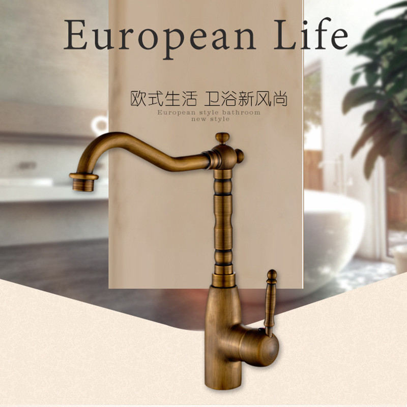 Free shipping Single handle single hole antique kitchen sink faucet with high quality solid brass bronze