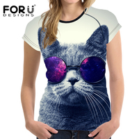 FORUDESIGNS Black Cat Sunglasses Women T Shirt Summer Casual Short Tees Shirt Bodybuilding Breath Woman Tops
