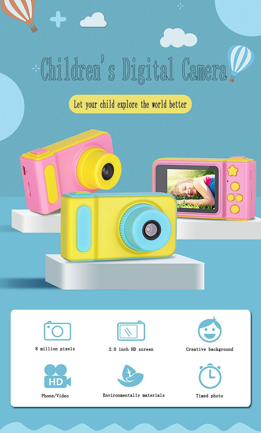 HTB1vlRYXlKw3KVjSZFOq6yrDVXai KOMERY Children's Digital Camera 2 Inch Screen Display Cartoon Cute Camera Birthday Gift 1080P Toddler Toys Video Camera For Ki