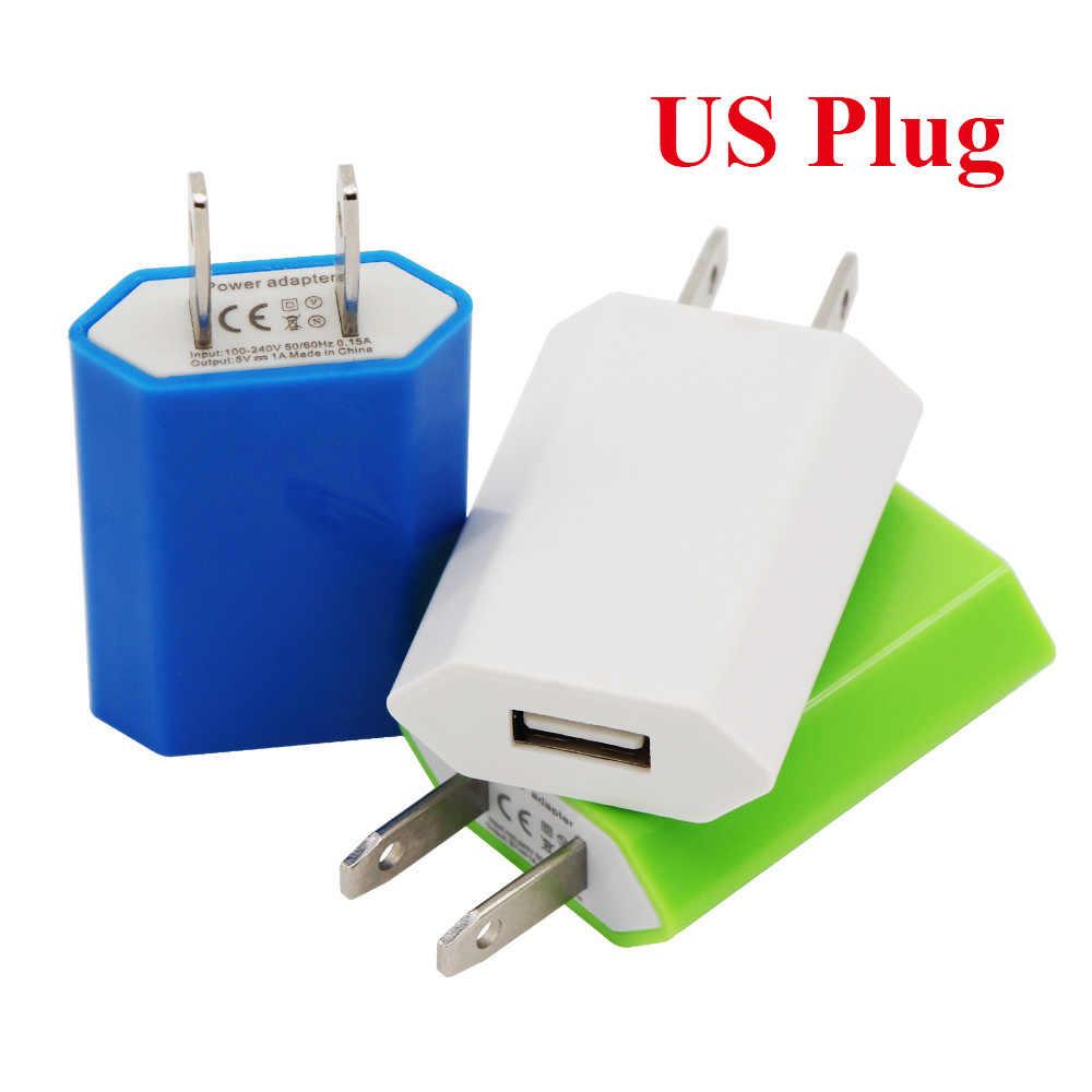 حار الملونة السفر جدار تهمة شاحن محول الطاقة الأوروبية الاتحاد الأوروبي الولايات المتحدة التوصيل USB شاحن تيار متردد ل أبل فون 6 5 5 S 4 4 S 3GS بود