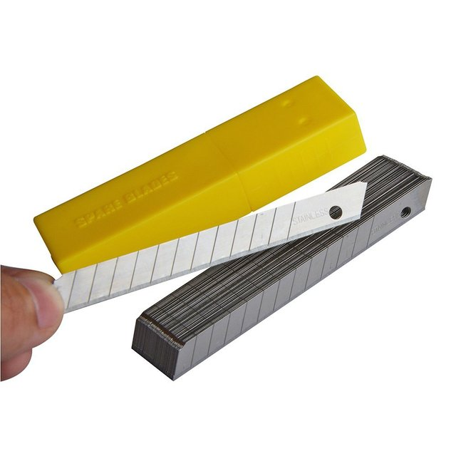 50pcs each box 9 mm stainless steel art knife blade snap off vinyl film cutter knife CN012