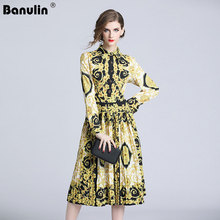 Banulin 2018 New Spring Vintage Palace Print Runway Dress Women Party Dresses Vestidos Plus Size Long Big Swing Maxi