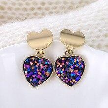 New Fashion Heart Drop Earrings Women's Geometric Mermaid Sequins Alloy 5 Color Earrings Korean Gold Love Bijoux Jewelry Gifts