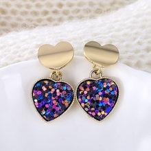 Pendientes de sirena para mujer, aretes de gota de corazón, de aleación de 5 colores con lentejuelas geométricas, joyería de de amor de oro coreano