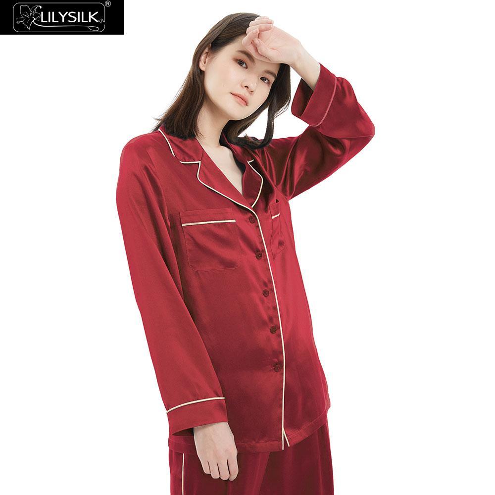 Image 3 - LilySilk 100 Silk Pajamas Set Gold Piping Silk Women Full Length 22 momme Mulberry Free ShippingPajama Sets   -