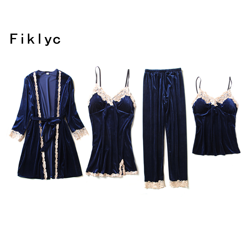 Fiklyc brand winter design velvet four pieces   pajamas     sets   bathrobe + short top + nightdress + long pants padded pijamas   sets