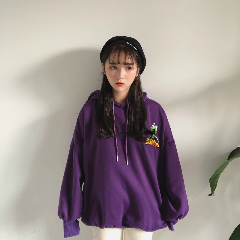 Ulzzang Harajuku Kawaii Letter Embroidered Purple Hoodie Women Autumn Winter Korean Fashion Thicken Streetwear Ladies Sweatshirt