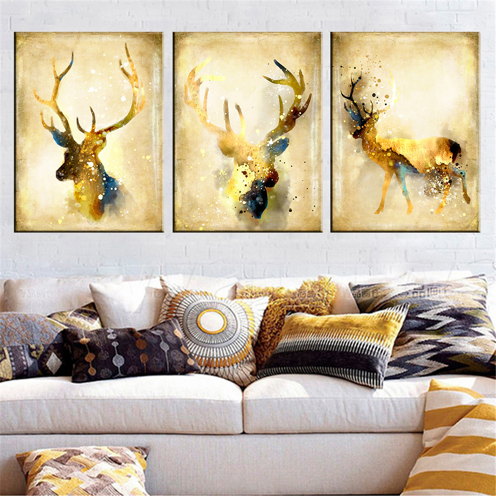 3 Panel Christmas Watercolor Animal Deer Painting Canvas Wall Art ...