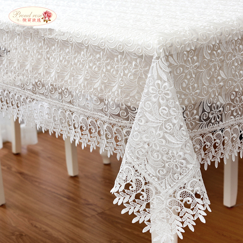 Proud Rose White Lace Table Cloth Wedding Decor Translucent Table Cover Embroidered Tabl ...