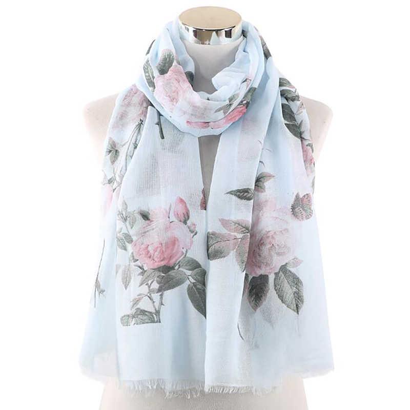 Yeni moda çiçek eşarp kadın şal bahar beyaz pembe nane renk gül çiçek baskı eşarp bayanlar