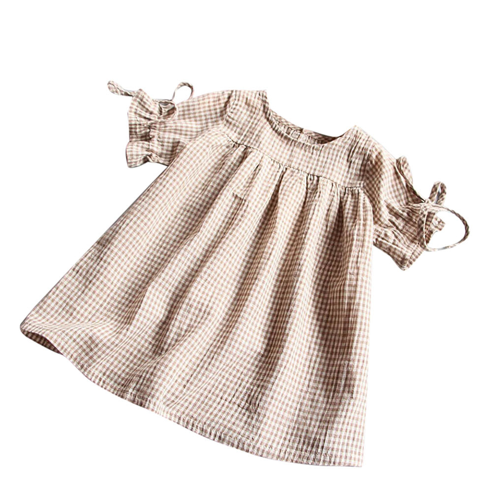MUQGEW Toddler Kids Baby Girl Clothes baptism Belt Bowknot Plaid Party Princess Dresses Girl Dresses Robe Enfant Q06