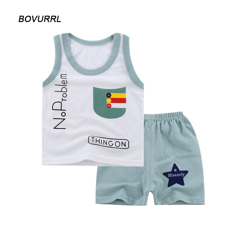 BOVURRL 2018 Fashion Baby Toddler Boys Clothes Pocket Tops Vest And Pants 2pcs Outfits Clothes Set Boy Girl Clothes