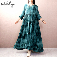 Makuluya Women Spring New Pink Cotton Vintage Dresses Long Sleeved National Loose Female Literary Dresses Summer