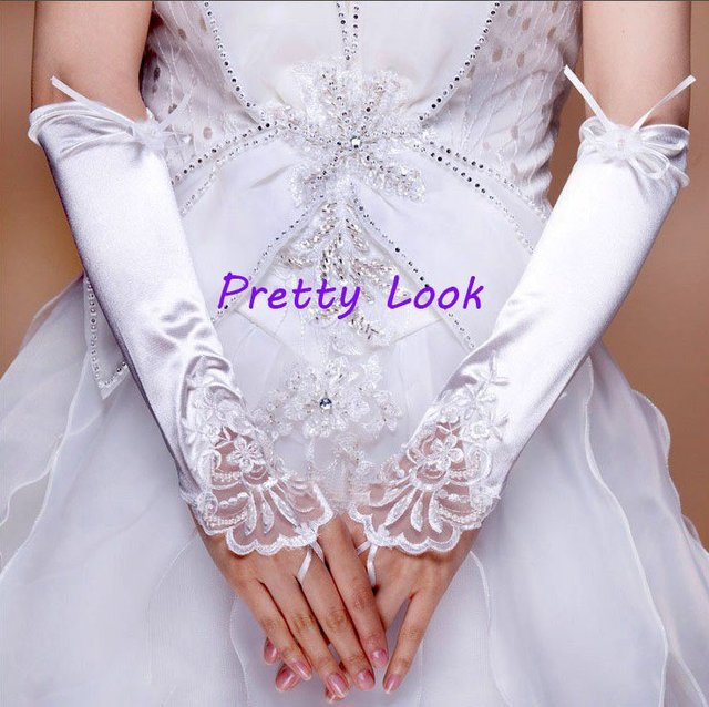 Wholesale White/ivory/black beaded lace appliques fingerless free shipping wedding gloves