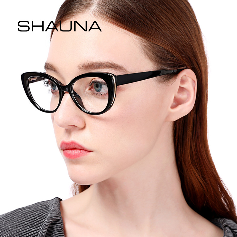 7ae4f0a002b SHAUNA Spring Hinge Vintage Cat Eye Eyeglasses Frame Women Brand Designer  Mixed Colors Myopia Glasses