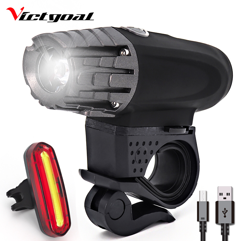 VICTGOAL Bike Light USB Rechargeable Flashlight For Bicycle Headlight Rear Set Mountain Road LED Front Lights