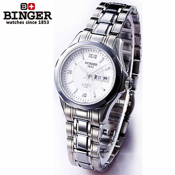 2017 Hot Selling Original Designer Women automatic watch 100M Waterproof sapphire full steel Ladies white Binger wrist watches hot selling stainless steel watch women