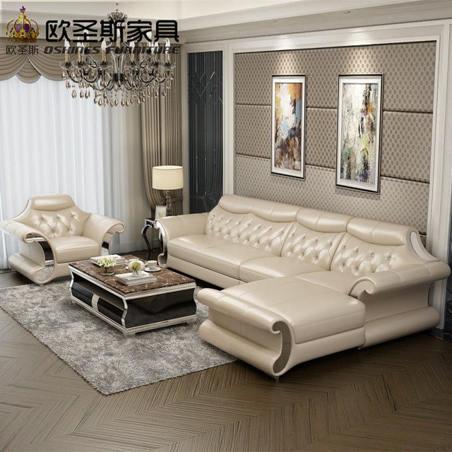 Beautiful Post Modern Bright Colored Sleeper Couch Living Room Stailess  Steel Frame Buffalo Leather Sofa Set