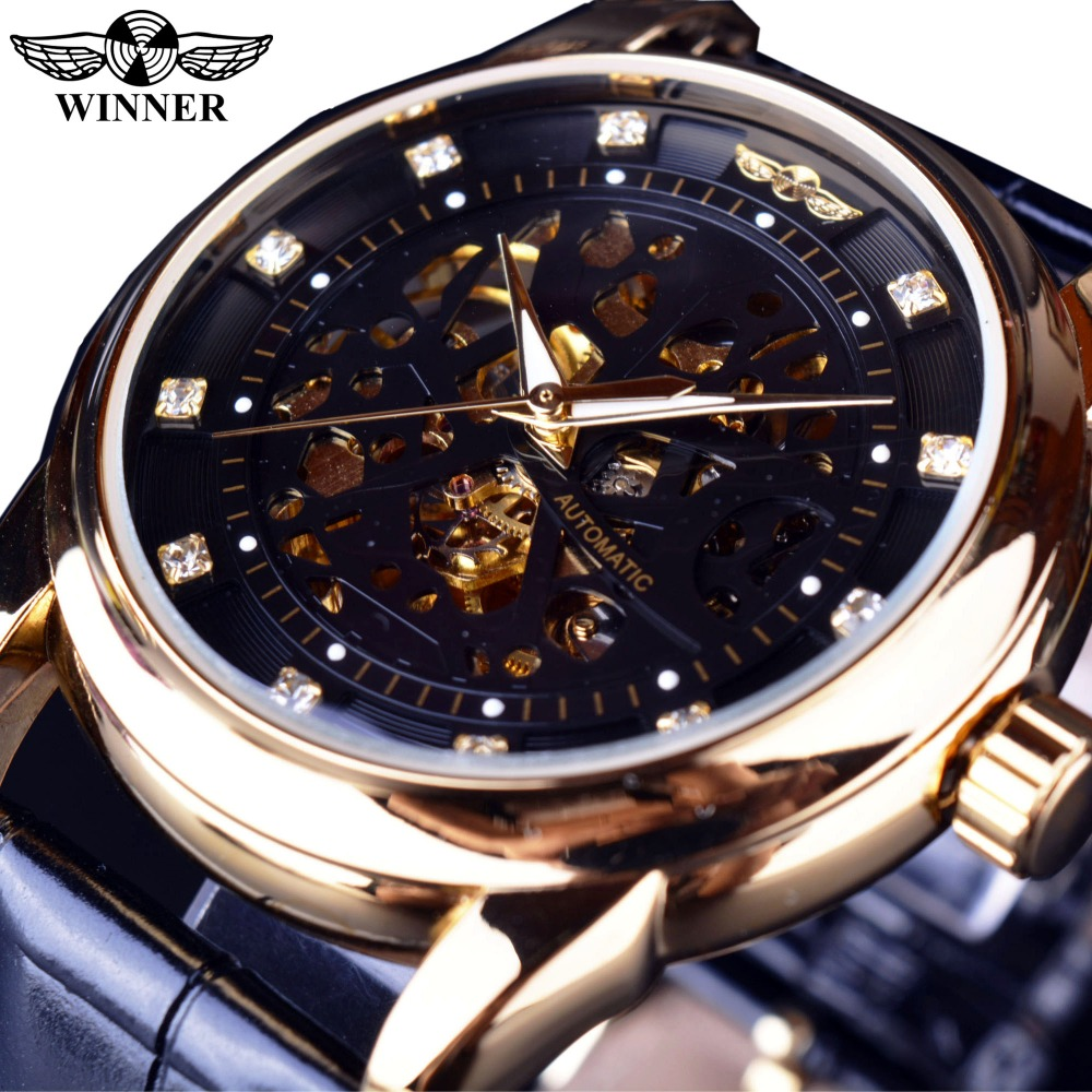цена на Winner Royal Diamond Design Black Gold Watch Montre Homme Mens Watches Top Brand Luxury Relogio Male Skeleton Mechanical Watch