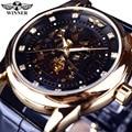 Winner Royal Diamond дизайнерские черные золотые часы Montre Homme мужские часы лучший бренд класса люкс Relogio мужские механические часы со скелетом - фото