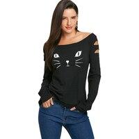 LANGSTAR 2017 Autumn Women T Shirt Cat Face Print O Neck Long Sleeve Ripped T Shirt