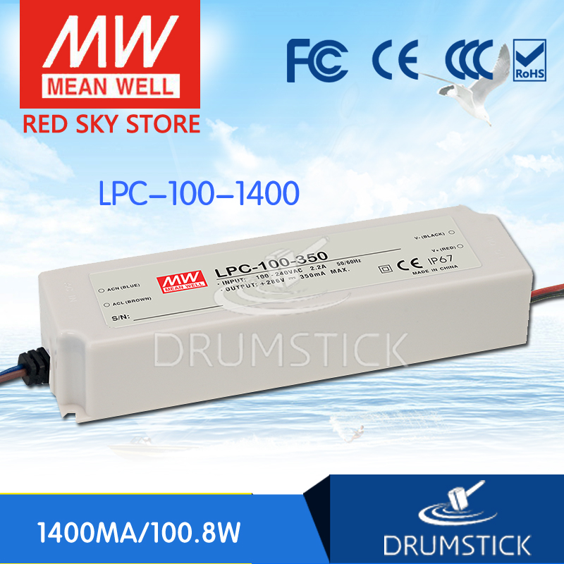 MEAN WELL LPC-100-1400 72V 1400mA meanwell LPC-100 72V 100.8W Single Output LED Switching Power Supply [Hot1] 72 1 100