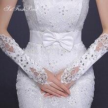 Без пальцев Длина опера с кристаллами Свадебные перчатки кружева свадебные перчатки свадебные аксессуары