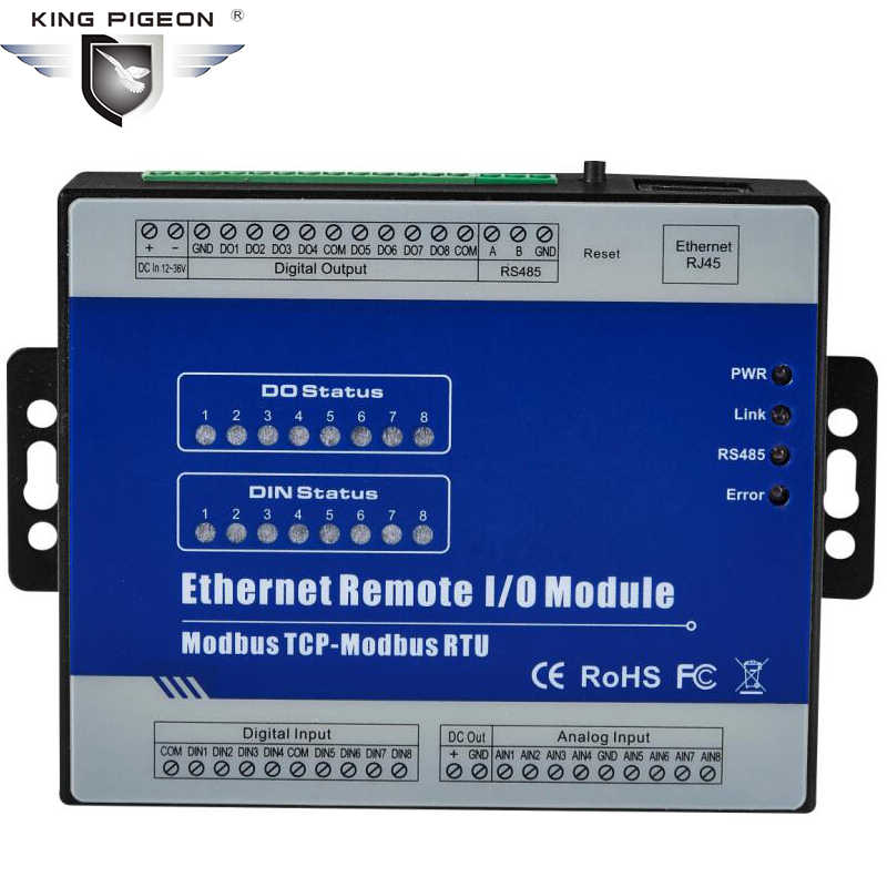 Web Server RS485 to RJ45 Ethernet to Modbus RTU IO Module support PWM Output 4 Analog inputs 8 Digital inputs M150T