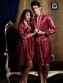 Бесплатная Доставка Пара Халат Набор Эмуляции Шелка Marnoon Женщины Халат V-образным Вырезом Полный Рукавом Халаты Сладкий Любовник Пижамы В Продаже
