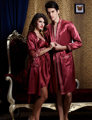 Free Shipping Couple Robe Set  Emulation Silk Marnoon Women Bathrobe V-neck  Full Sleeve Men Robes Sweet Lover Nightwear On Sale