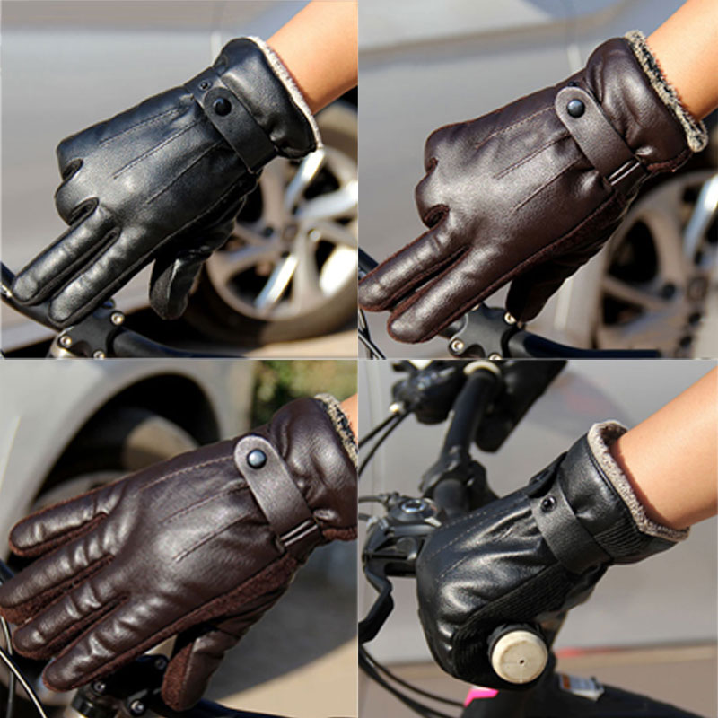 New Men's Luxurious PU Leather Winter Super Driving Warm Gloves Cashmere Cashmere Wonderful Gift   AIC88
