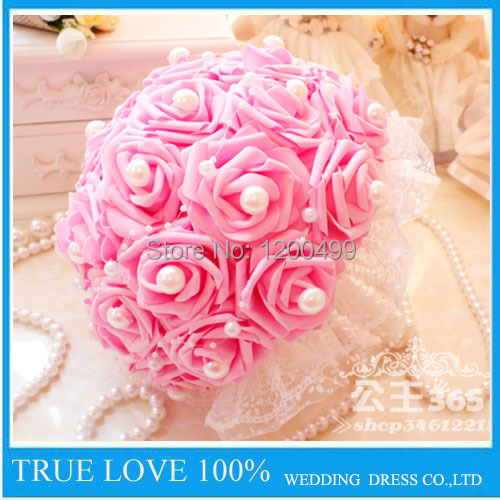 Free shipping pink and dark pink beauty bridal bouquet rose flower free shipping pink and dark pink beauty bridal bouquet rose flower head hand party wedding bridesmaid mightylinksfo