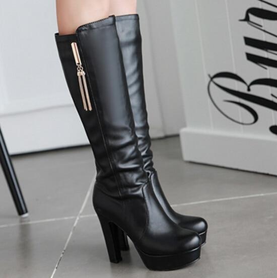 Talons hauts femme bottines plate forme Faux pu mode en cuir classique  classe hiver bottes femmes chunky talon chaussures chaudes dans Bottes  hautes de