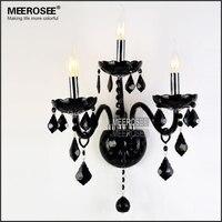Роскошный Кристалл настенного светильника Винтаж черный Cristal Lustre лампа Стекло бра свет 3 огни для Спальня проход крыльцо