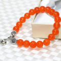 Charms original design orange chalcedony jasper jade 8mm rope bracelet fashion Tibet silver-plated pendant jewelry 7.5inch B2048