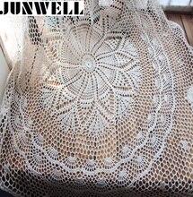 Junwell Weihnachten handmade Häkeln Blume Runde Kaffee Tischdecken Baumwolle tischtuch Deckchen Abdeckung tuch Heimtextilien