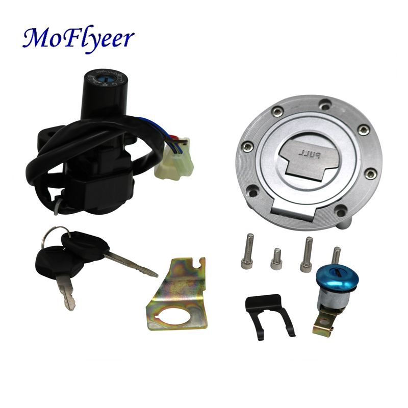 MoFlyeer Motorcycle Ignition Switch Gas Cap Fuel Tank Cover Lock Assembly With Key Set Engine Hook Locking Key 1992-2013
