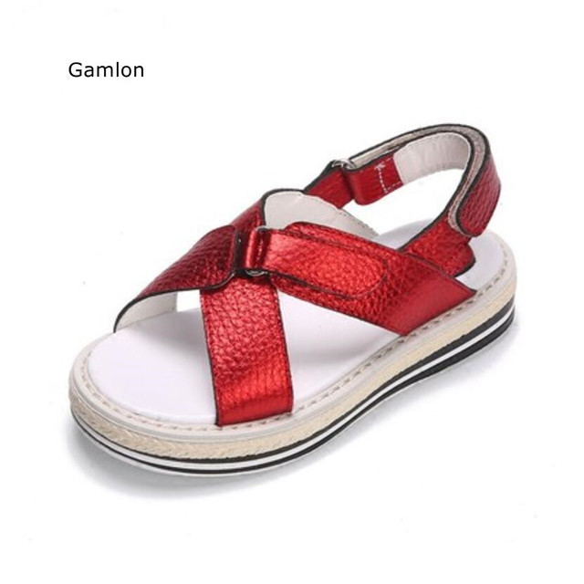 8604f19fdc6f72 Gamlon Teenage Girl Sandals Summer 2017 New Korean Fashion Princess Shoes  Children s Real Leather Roma Sandals Boys Shoes