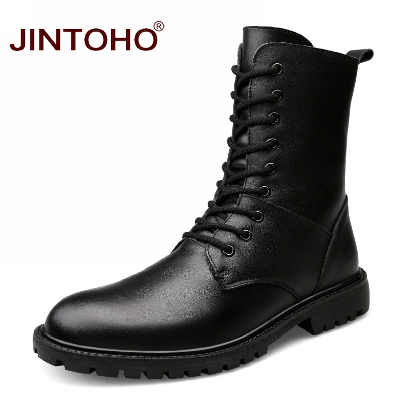 JINTOHO 2017 Genuine Leather Mens Winter Shoes Mid-Calf Male Leather Boots Winter Work Safety Boots Black Mens Military Boots