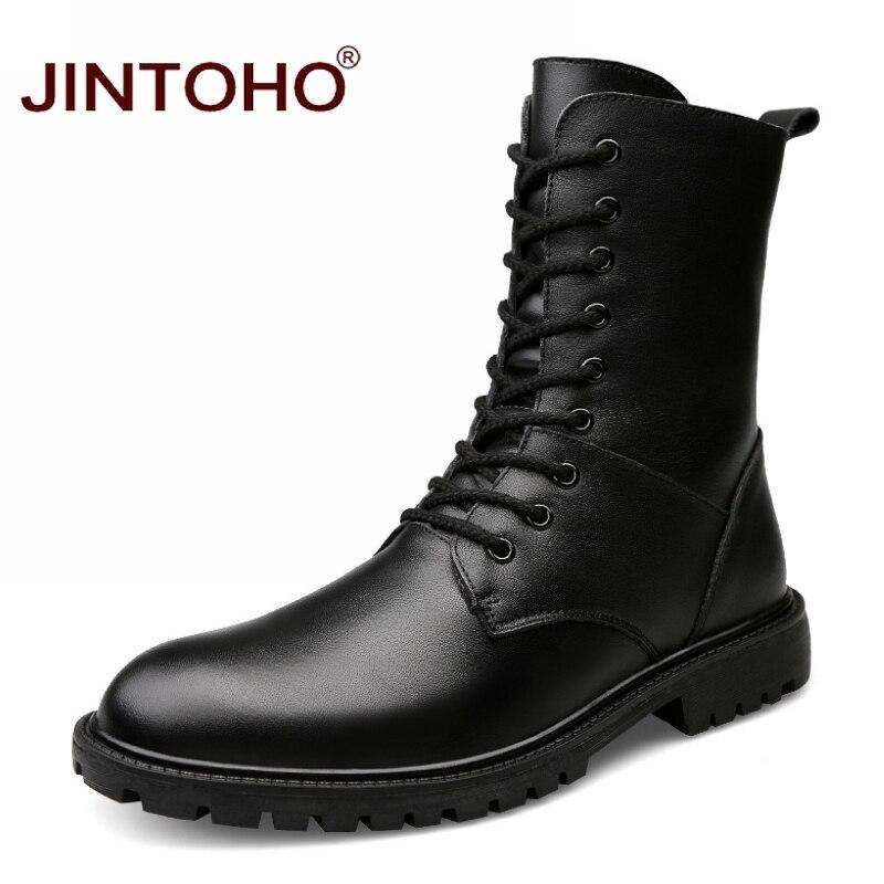 Ayakk.'ten Çalışma ve Güvenlik Botları'de JINTOHO 2017 hakiki deri erkek kış ayakkabı orta buzağı erkek deri Boots kış iş güvenlik botları siyah erkek askeri çizmeler'da  Grup 1