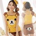 Meninas adultas Treino Pyjamas Rilakkuma pijama terno no Verão camiseta 3D Animal da cara Das Senhoras dos desenhos animados emoji Sleepwear para as mulheres