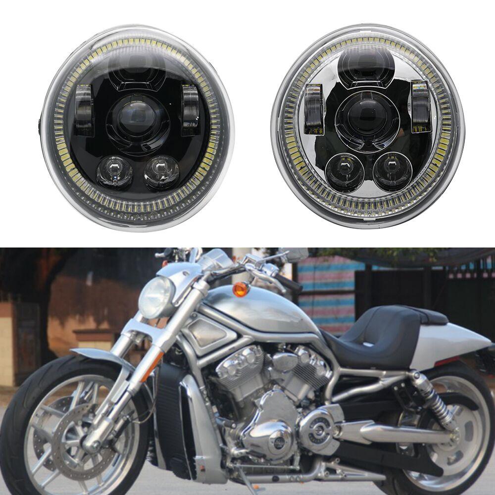 Black Chrome V-Rod Muscle Night Rod LED Motorcycle Angel Eyes Headlight For Harley V Rod VRSCF VRSC VRSCR